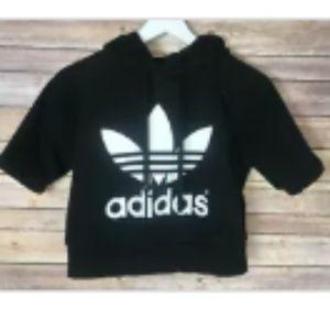 ADIDAS Black Logo Hooded Cropped Sweatshirt S